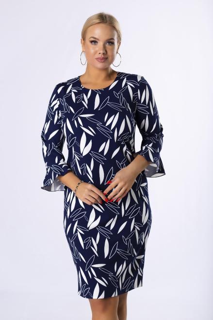 BRENDA  dopasowana sukienka z rozszerzanymi rękawami M81501 Платья +Size Темносиний оптом