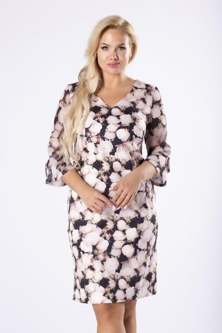 WESLEY  dopasowana sukienka w florystyczny print M81393 Платья +Size Multikolor оптом