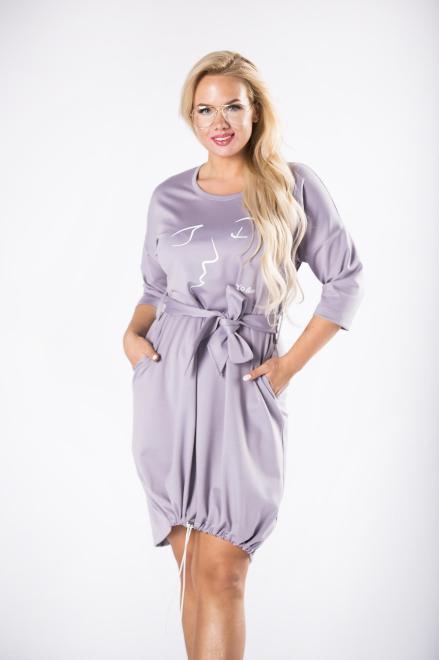 ROXANA  sukienka z wiązaniem w pasie i  ściągaczem na dole M81595 Платья +Size Серый оптом