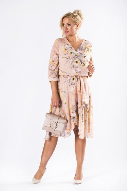ROXANA  zwiewna sukienka z dekoltem z asymetrycznymi falbanami  M81480 Платья +Size Оранжевый оптом