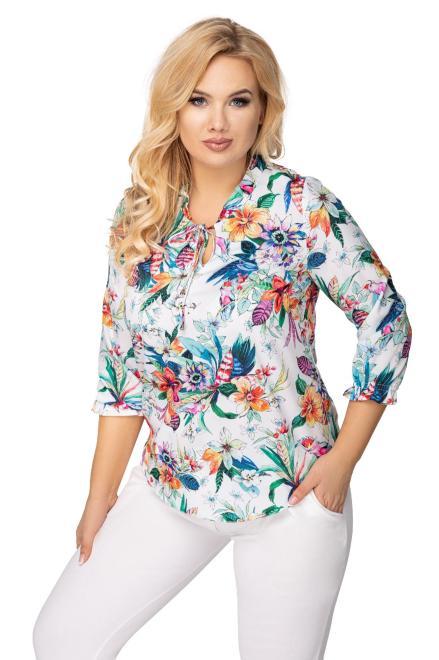 SANDRA  bluzka z ozdobnym wiązaniem przy szyi M76536 Блузки +Size Multikolor оптом