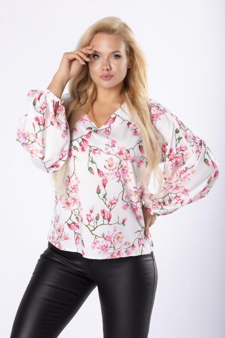 MILANO MODA  koszulowa bluzka z bufiastymi rękawami  M81663 Блузки +Size Кремовый оптом