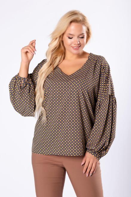 MILANO MODA  koszulowa bluzka z bufiastymi rękawami  M81663 Блузки +Size Multikolor оптом
