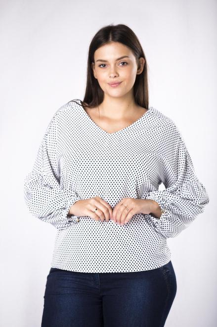 MILANO MODA  koszulowa bluzka z bufiastymi rękawami  M81663 Блузки +Size Белый оптом