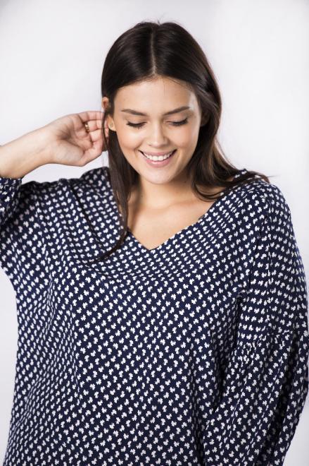 MILANO MODA  koszulowa bluzka z bufiastymi rękawami  M81663 Блузки +Size Темносиний оптом