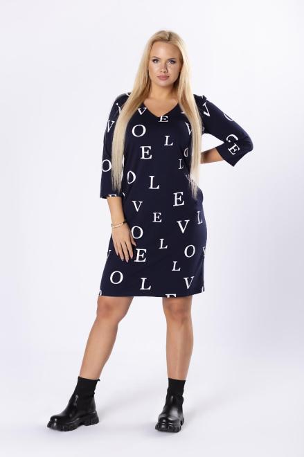 MONIKA  sukienka z rękawem 3/4 oraz dekoltem w serek M77425 Платья +Size Темносиний оптом