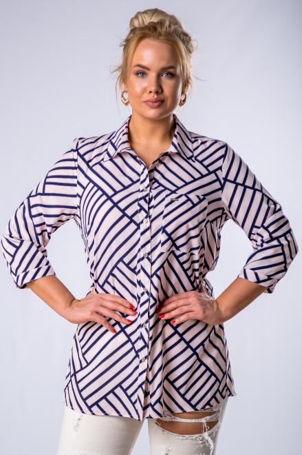 SANDRA  bluzka o koszulowym kroju w paski M79697 Блузки +Size Multikolor оптом