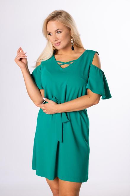 TRYNITE  sukienka z rozcięciami na ramionach M84240 Платья +Size Зеленый оптом
