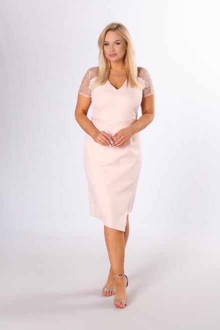 VEGAS  wizytowa sukienka z gipiurą M84233 Платья +Size Розовый оптом
