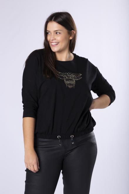 MONIKA  bluzka ze ściągaczem M81219 Блузки +Size Черный оптом