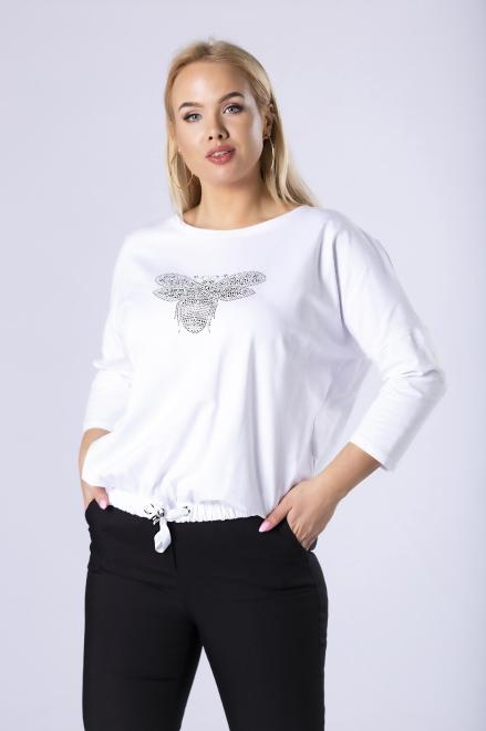 MONIKA  bluzka ze ściągaczem M81219 Блузки +Size Белый оптом