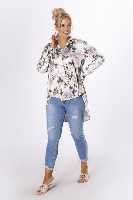 MONIKA  satynowa koszula z wydłużonym tylem M84267 Блузки +Size Белый оптом