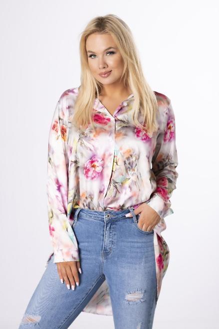 MONIKA  satynowa koszula z wydłużonym tylem M84267 Блузки +Size Multikolor оптом