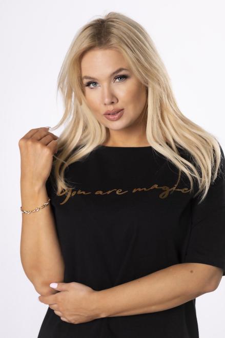 MONIKA  t-shirt z napisem M84303 Блузки +Size Черный оптом
