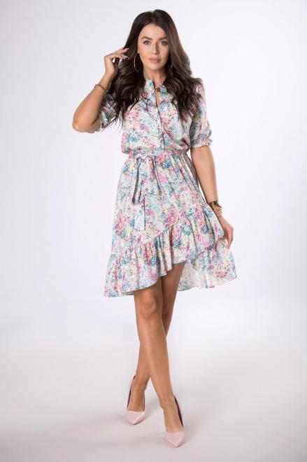 MILANO MODA  wzorzysta sukienka z falbankami M84394 Платья +Size Multikolor оптом