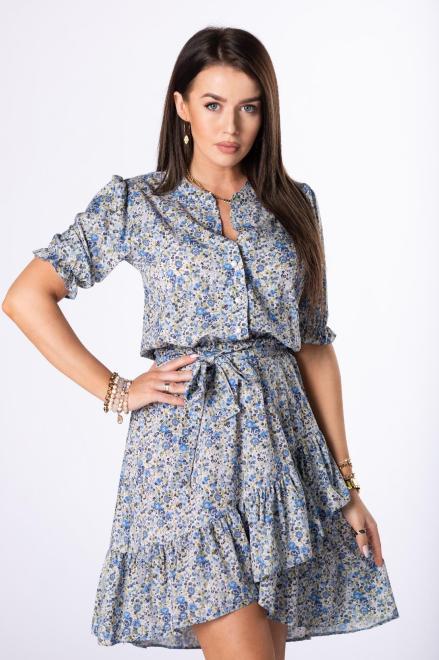 MILANO MODA  wzorzysta sukienka z falbankami M84394 Платья +Size Зеленый оптом