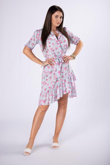 MILANO MODA  wzorzysta sukienka z falbankami M84394 Платья +Size Голубой оптом