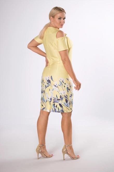 BRENDA  sukienka z rozcięciami na ramionach M84305 Платья +Size Желтый оптом