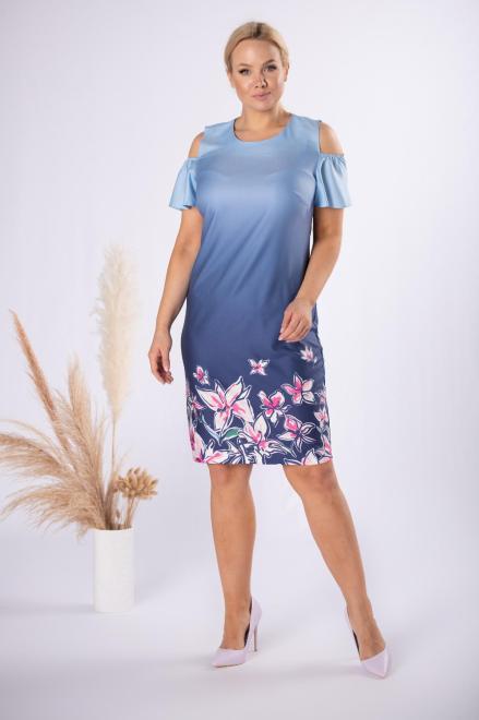 BRENDA  sukienka z rozcięciami na ramionach M84305 Платья +Size Голубой оптом