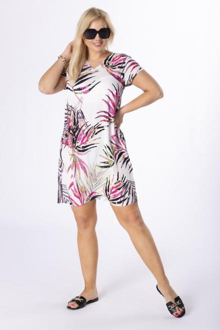 BRENDA  trapezowa sukienka z printem M84445 Платья +Size Кремовый оптом