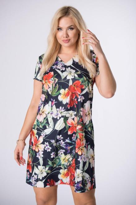 BRENDA  trapezowa sukienka z printem M84445 Платья +Size Темносиний оптом