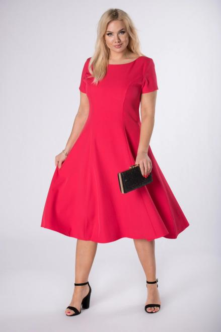 KAJA  rozkloszowana sukienka midi M84388 Платья +Size Розовый оптом