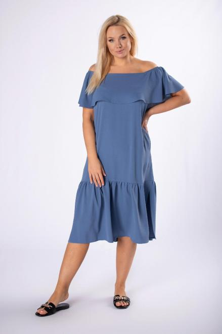 BOG-MAR  sukienka midi z hiszpańskim dekoltem M84539 Платья +Size Голубой оптом