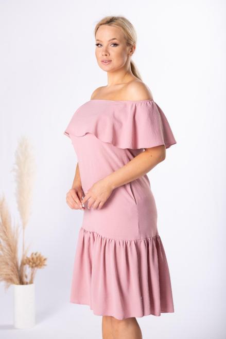 BOG-MAR  sukienka midi z hiszpańskim dekoltem M84539 Платья +Size Розовый оптом