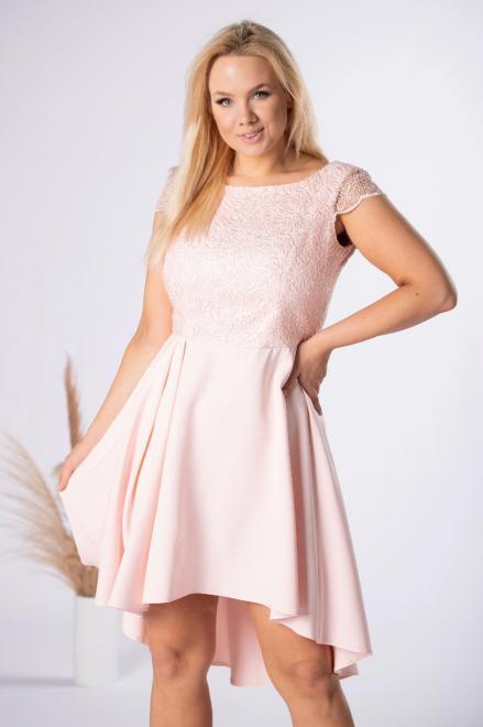 VEGAS  koktajlowa sukienka z wydłużonym tylem M84446 Платья +Size Розовый оптом