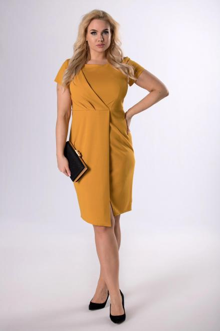 KAJA  połyskująca sukienka z kopertową zakładką M81334 Платья +Size Желтый оптом