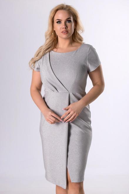 KAJA  połyskująca sukienka z kopertową zakładką M81334 Платья +Size Серый оптом