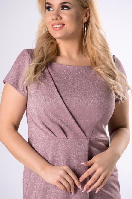KAJA  połyskująca sukienka z kopertową zakładką M81334 Платья +Size Фиолетовый оптом