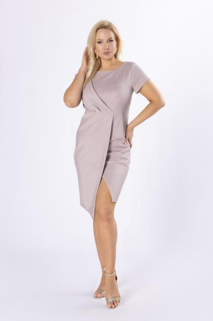 KAJA  połyskująca sukienka z kopertową zakładką M81334 Платья +Size Розовый оптом
