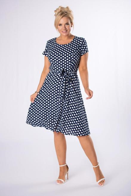 BOG-MAR  rozkloszowana sukienka w groszki M78064 Платья +Size Темносиний оптом