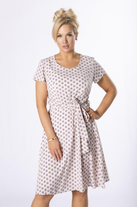 BOG-MAR  rozkloszowana sukienka w groszki M78064 Платья +Size Оранжевый оптом