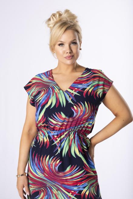 MONIKA  sukienka maxi z dekoltem V M78981 Платья +Size Темносиний оптом