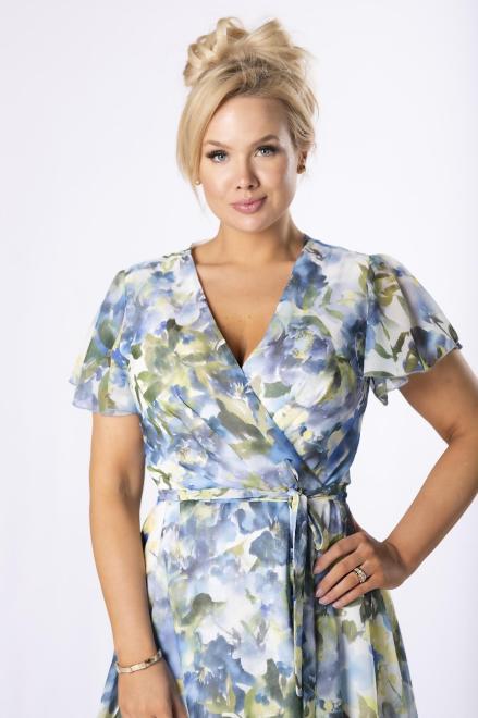 BELLE-FEMME  kopertowa sukienka z szyfonu M84627 Платья +Size Multikolor оптом