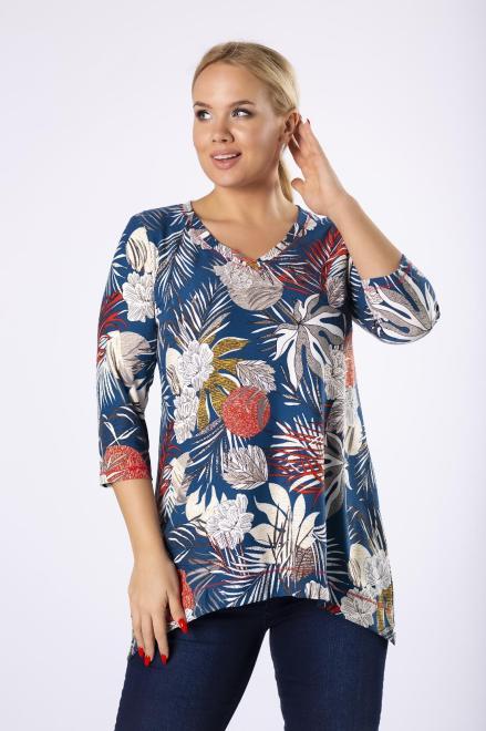 BOG-MAR  bluzka z wydłużonymi bokami M80951 Блузки +Size Голубой оптом