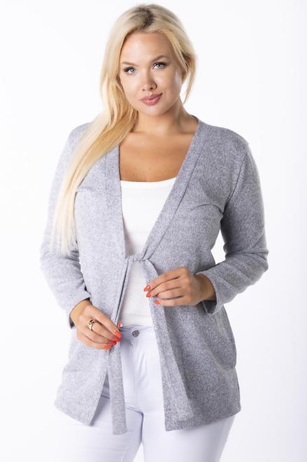 HALINA  sweter z wiązaniem M84980 Свитер +Size Серый оптом