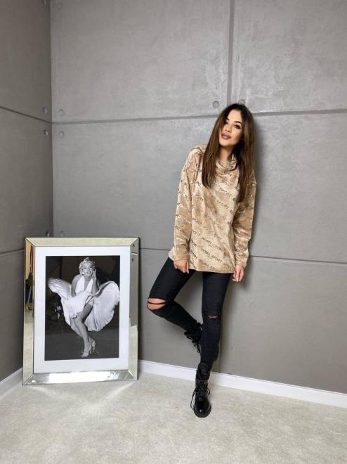 Ingrosso  Welurowa bluza ROMA Блуза Бежевый оптом