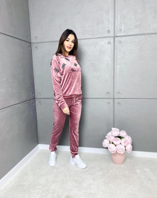 Ingrosso  Welurowy dres bez kaptura RR Трикотажные брюки pudrowo różowy оптом
