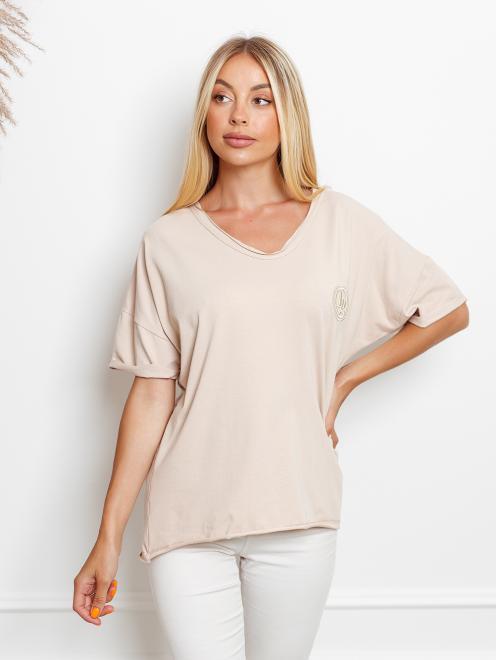 Ingrosso  T-shirt big size z haftem Майка Светлый беж оптом