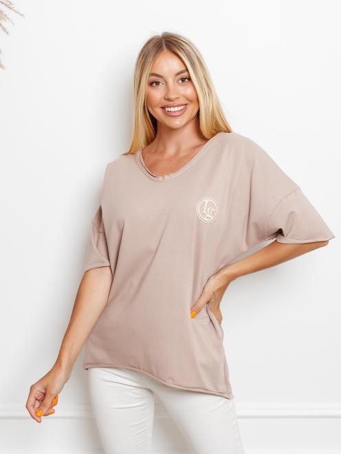 Ingrosso  T-shirt big size z haftem Майка Темнобежевый оптом