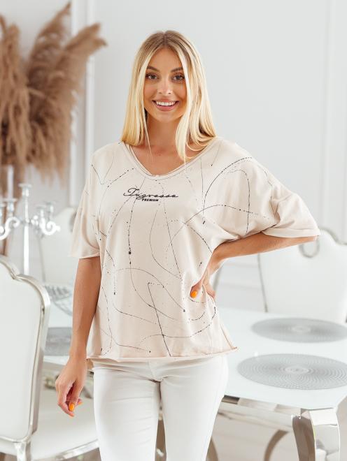 Ingrosso  T-shirt big size nakrapiany z haftem Майка Светлый беж оптом