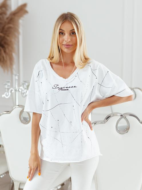 Ingrosso  T-shirt big size nakrapiany z haftem Майка Белый оптом