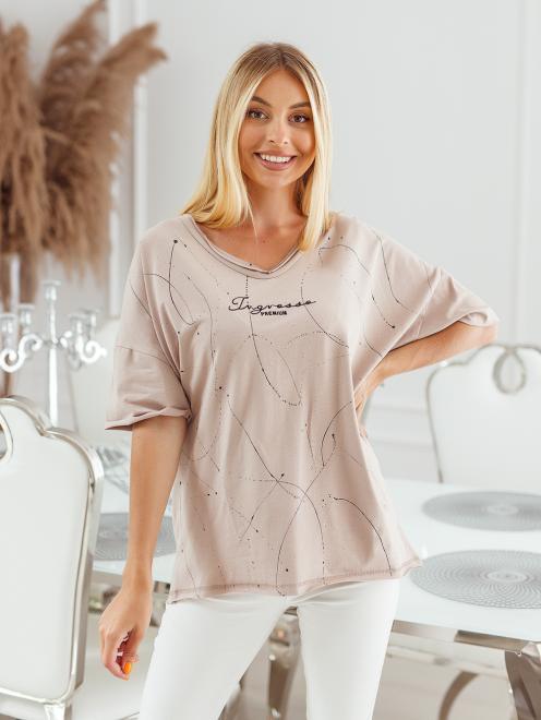 Ingrosso  T-shirt big size nakrapiany z haftem Майка Темнобежевый оптом