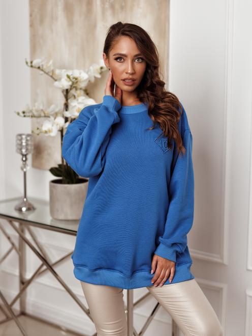 Ingrosso  Bluza z haftowanym diamentem IG- niebies Блуза не указан оптом
