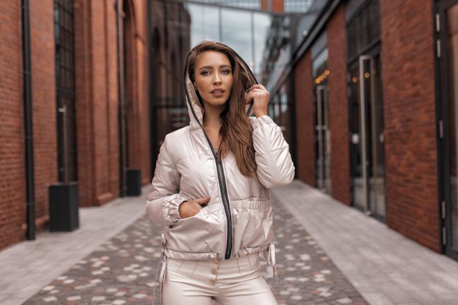 Ingrosso  Куртка двусторонняя короткая INGROSSO Куртка jasny beż ze złotym оптом