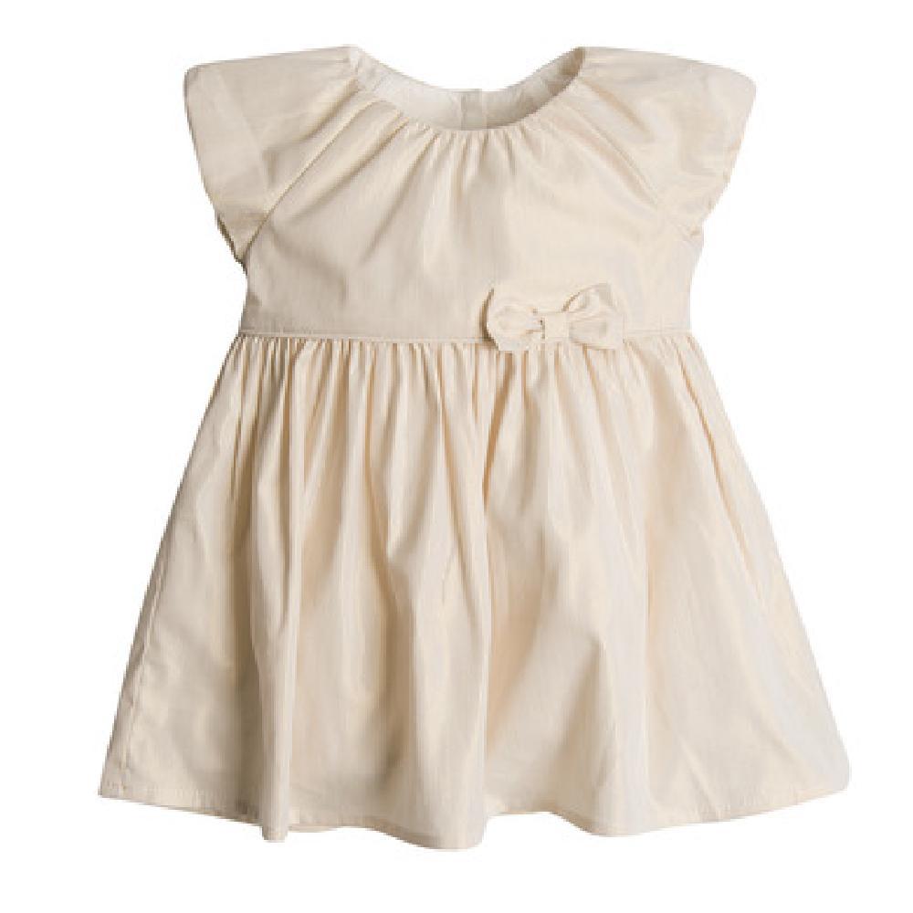 SM  Sukienka dziewczęca z krótkim rękawem, ecru, złoty wzór, kokardka Платье Кремовый оптом