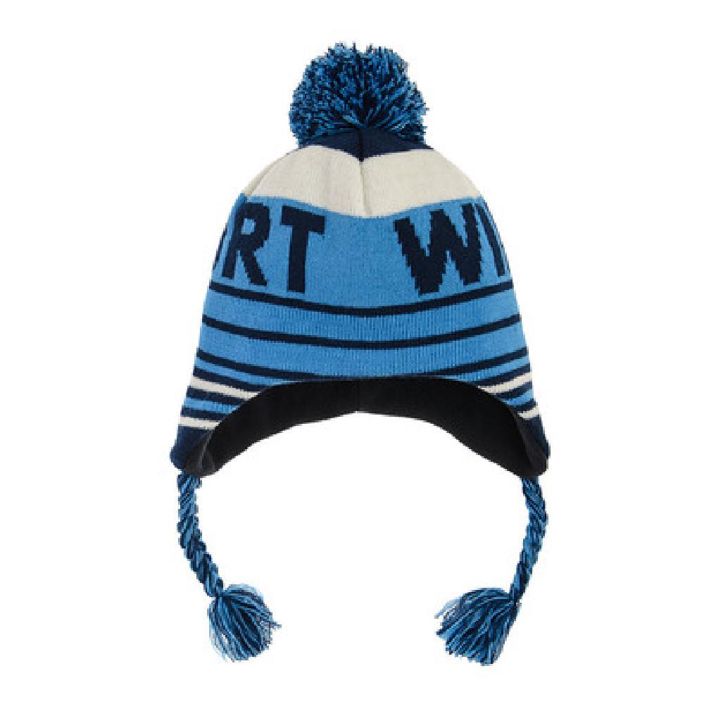 SM  Czapka chłopięca z pomponem, niebieska, Winter шапка Голубой оптом